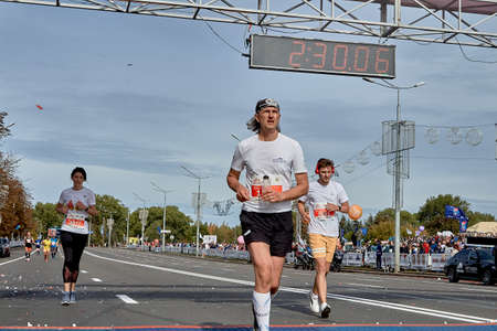 September 15, 2019 Minsk Belarus A marathon race in which participants cross the finish line on a city road