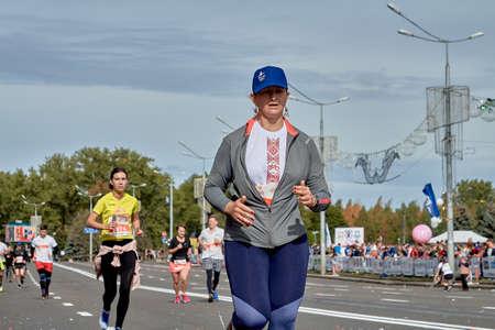 September 15, 2019 Minsk Belarus Close-up of a woman crossing the finish line of the Minsk half marathon