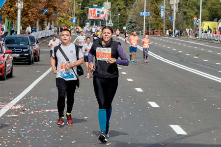 September 15, 2019 Minsk Belarus A marathon race in which competitors run to the finish line on a city road