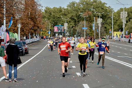 September 15, 2019 Minsk Belarus Marathon participants run along the city road to the finish line Editorial