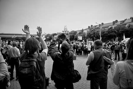 June 7 2020 Minsk Belarus A rally where people stand with their hands up and protest in the square