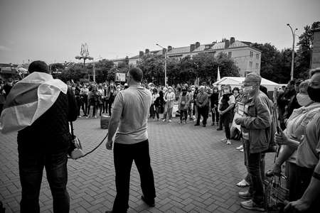 June 7 2020 Minsk Belarus A rally when a man took the microphone from an opposition representative to express his opinion about the existing government