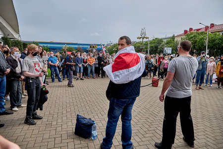 June 7 2020 Minsk Belarus The two leaders of the opposition with a microphone urging people to protest