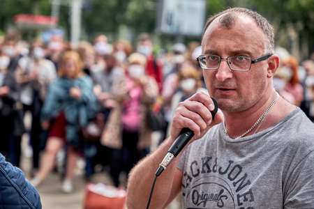 June 7 2020 Minsk Belarus Close-up of an opposition leader with a microphone standing at a protest rally