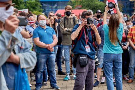 June 7 2020 Minsk Belarus Photographers with cameras work at a protest rally