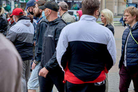 June 14 2020 Minsk Belarus Active masked people stand at a protest rally