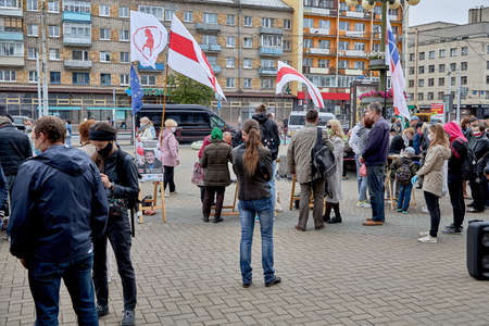 June 14 2020 Minsk Belarus Active people approach the tables to collect signatures for possible presidential candidates