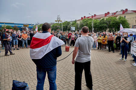 June 7 2020 Minsk Belarus Two opposition leaders are in favor of people fighting against the arbitrariness of the authorities
