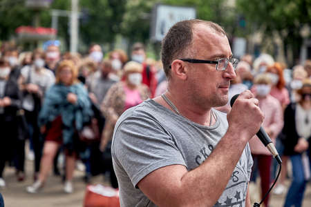 June 7 2020 Minsk Belarus Close-up of an opposition leader with a microphone speaking at a protest rally