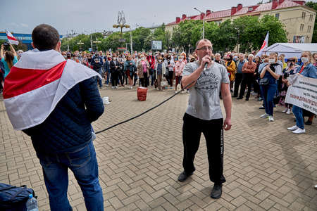 June 7 2020 Minsk Belarus A rally when a man took the microphone from the opposition leader to express his opinion about the existing government