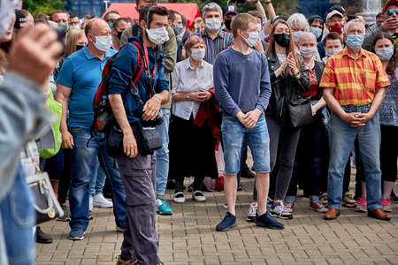 June 7 2020 Minsk Belarus People in medical masks stand in line to leave signatures for presidential candidates