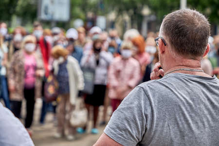 June 7 2020 Minsk Belarus An opposition leader with a microphone speaks at a protest rally 新聞圖片