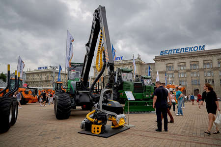 July 3 2020 Minsk Belarus Exhibition of construction and agricultural machinery on the square in Minsk