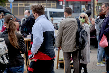June 14 2020 Minsk Belarus Active masked people approach the tables to collect signatures for possible presidential candidates