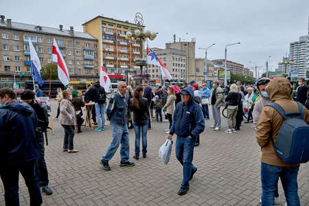 June 14 2020 Minsk Belarus Active people strolling up to the tables to collect signatures for possible presidential candidates