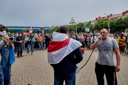 June 7 2020 Minsk Belarus A rally where an oppositionist with a microphone speaks about his movement against the arbitrariness of the authorities