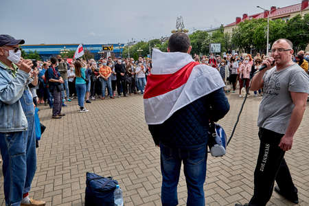 June 7 2020 Minsk Belarus A rally where a man with glasses stands next to the leader of the opposition to talk about his movement against the arbitrariness of the authorities