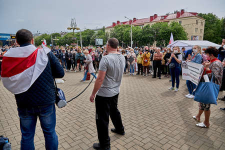 June 7 2020 Minsk Belarus A rally where a man took a microphone from an opposition representative to Express his opinion about the existing government