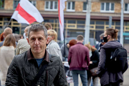 June 14 2020 Minsk Belarus A man walks from a protest rally