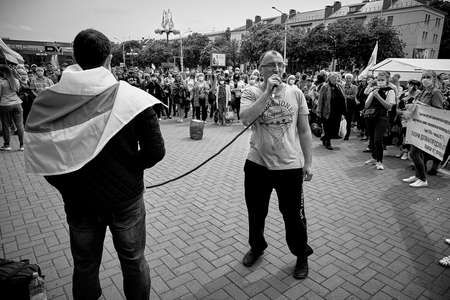 June 7 2020 Minsk Belarus Two opposition leaders are calling on people to fight against the arbitrariness of the authorities