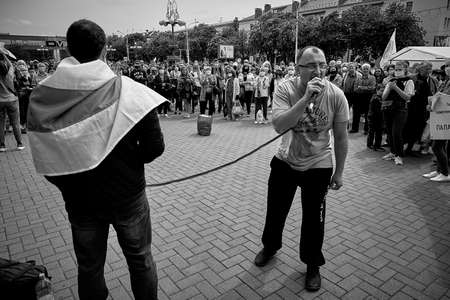 June 7 2020 Minsk Belarus A man with a microphone speaks for people who are fighting against the arbitrariness of the authorities