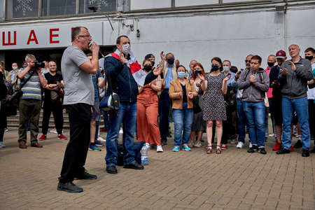 June 7 2020 Minsk Belarus A man with a microphone speaks about his movement against the arbitrariness of the authorities
