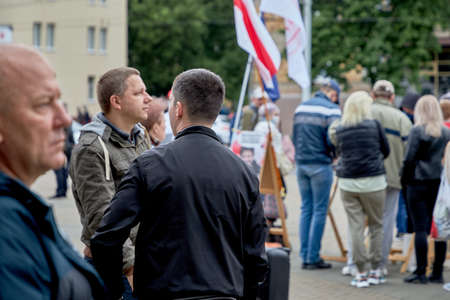 June 14 2020 Minsk Belarus Lot people come to sign up for the opposition presidential candidate