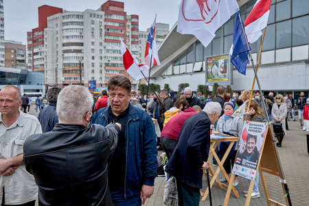 June 14 2020 Minsk Belarus Possible presidential candidate Nikolai Kozlov answers blogger's questions