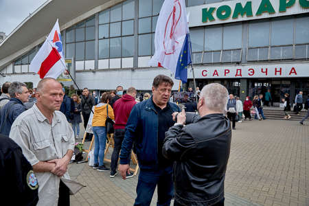 June 14 2020 Minsk Belarus Possible presidential candidate Nikolai Kozlov gives an interview to a blogger 新聞圖片