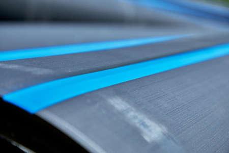Close-up of polyethylene pressure pipes lying during installation 版權商用圖片 - 163142918