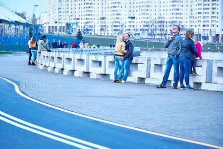 October 19, 2019 Minsk Belarus People walking along the embankment