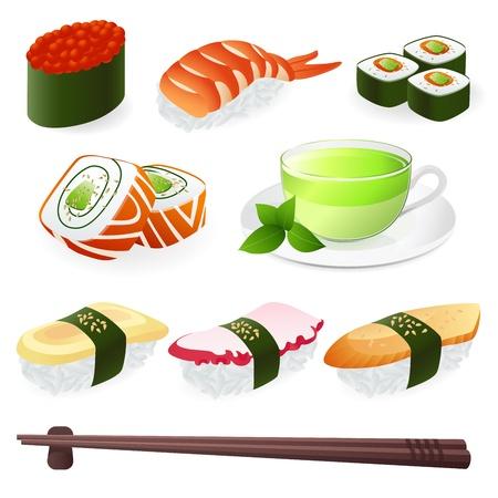 japanese food: Japanese Cuisine - Sushi Roll. Vector set