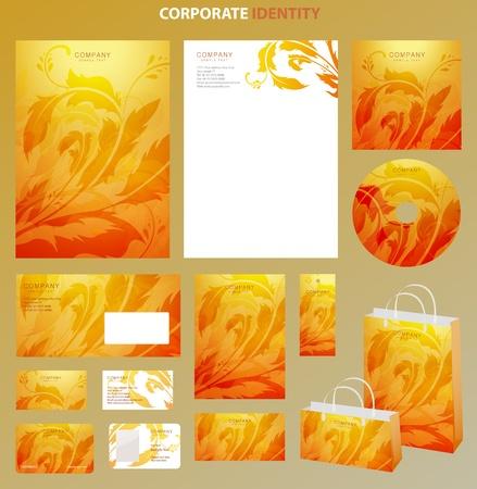 red and yellow card: Plantillas de estilo con adornos florales. Vector Vectores