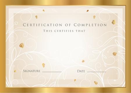 completion: Certificado de plantilla terminaci�n. Vector Vectores