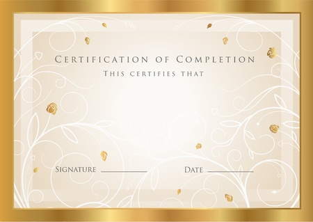 diploma border: Certificate of completion template. Vector