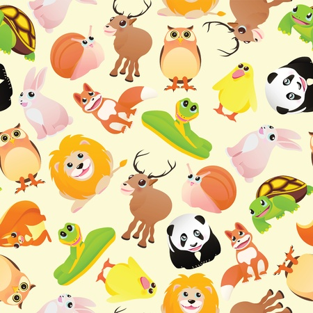 Cartoon animals pattern seamless Vector