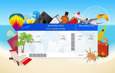 boarding card: Travel. Conceptual vector illustration of boarding pass with vacation equipment Illustration