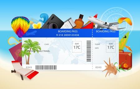 boarding card: Viaggi. Illustrazione vettoriale concettuale di carta d'imbarco con le apparecchiature per le vacanze