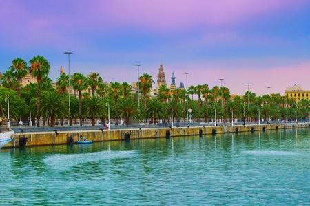 Port of Barcelona, Spain at sunset photo