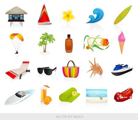 Los iconos de la playa establece Ilustración de vector