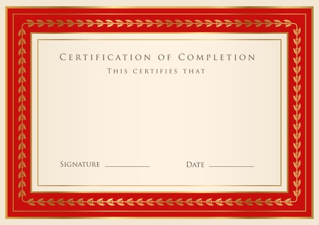 Certificate of completion template  Vector Ilustrace