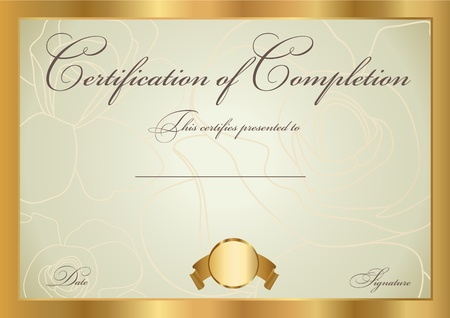 Certificate of completion template  Vector Vector