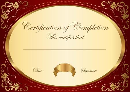 certificat diplome: Certificat de Vector mod�le de compl�tion