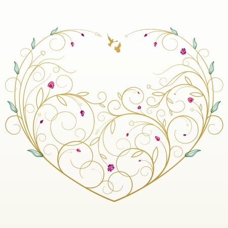 Tarjeta de felicitación floral con el corazón