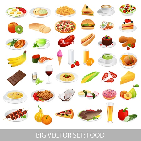 soup and salad: Big vector set  food  various delicious dishes  - detailed illustrations