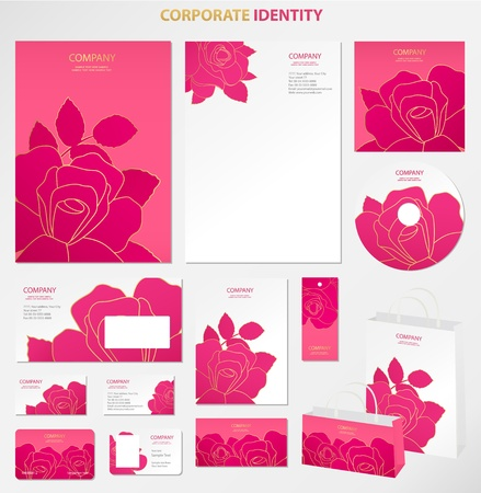 cd label: Business style templates with flowers  Vector Illustration