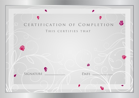 Silver certificate of completion template  Vector Illustration