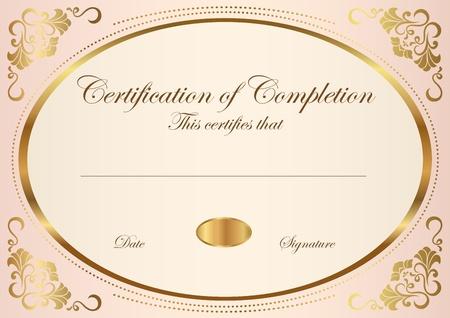 completion: Certificado de finalizaci�n plantilla de Vector