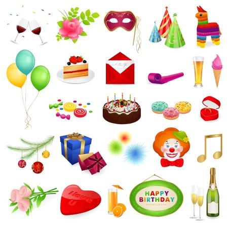 trozo de pastel: Grandes fiestas de vectores conjunto ilustraciones detalladas