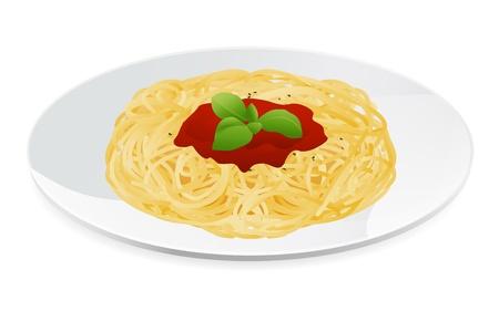 italian pasta: Ilustraci�n vectorial de espaguetis a la bolo�esa con pasta de salsa de tomate italiana Vectores